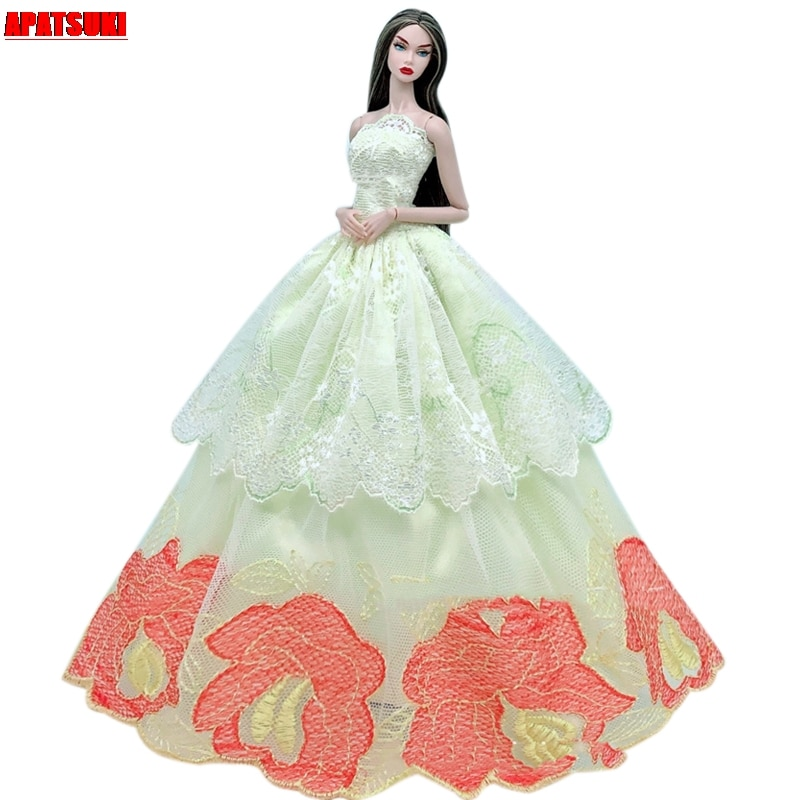 Light Yellow Lace Flower Wedding Dress For Barbie Doll Clothes Outfits Multi-layer Party Gown For 1/6 BJD Dolls Accessories Toys