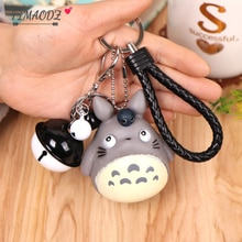 FIMAODZ Cartoon Totoro Bell Keychain 2020 Voiced Vinyl Cute My Neighbor Kawaii Cat key Chain Anime Purse Bag Kids Keyring Gift