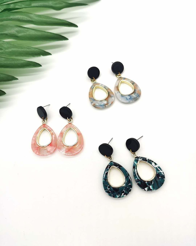 2020 new drop-shaped acrylic female earrings stylish and simple personality alloy earrings
