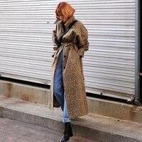 imucci turn down collar full sleeve jackets loose fashion korean leopard print long fund windbreaker loose coat tm1795