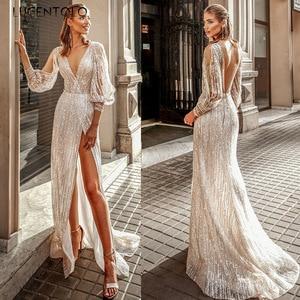Lugentolo Sequin Dress Women Party Sexy V-neck Hem Split Dresses Long Sleeve Strapless Slim Dinner Elegant Ladies Maxi Dress