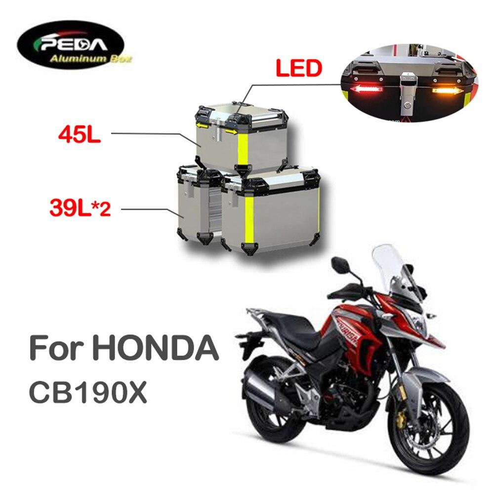 V5-23 دراجة نارية الألومنيوم صندوق مع LED Winker 45L المزدوج 39L Panniers أفضل حالة الجانب بانير لهوندا CB 190X سكوتر الخلفي الجذع