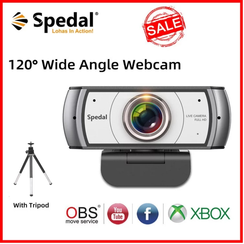 Spedal C920 Pro 120° Wide Angle Webcam Full HD 1080P with Tripod 【Official Software】 USB Web Camera Software Control For Mac PC spedal 120° wide angle webcam full hd 1080p with tripod usb camera video conference for computer mac pc