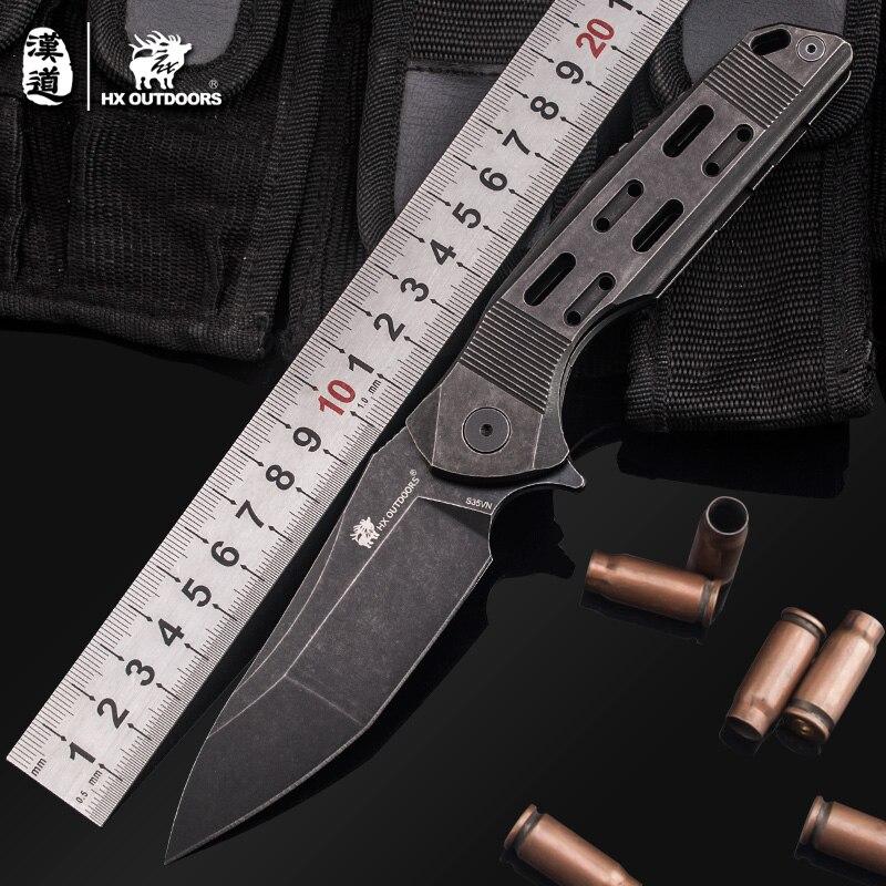 HX Outdoor الثقيلة درع التكتيكية للطي شفرة السكاكين S35VN صلابة عالية 59HRC التخييم سكين صيد أدوات في الهواء الطلق