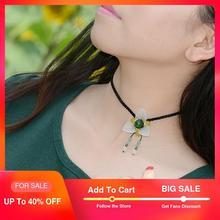 Collier ras du cou pour femmes mignon à la mode breloque mode xiuyan pierre fleur vert jaune perles pendentif chaîne courte bijoux vintage