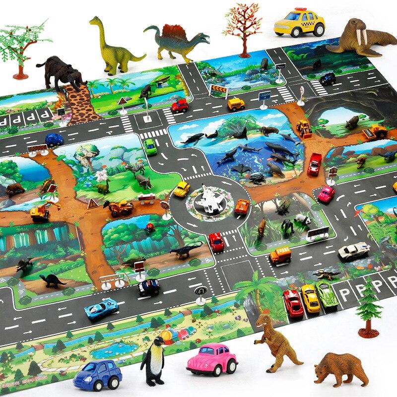 Jogo de brinquedo infantil playmat 130*100 dinossauro cena de estacionamento de tráfego mundial pode ser equipado com pequenos carros e animais