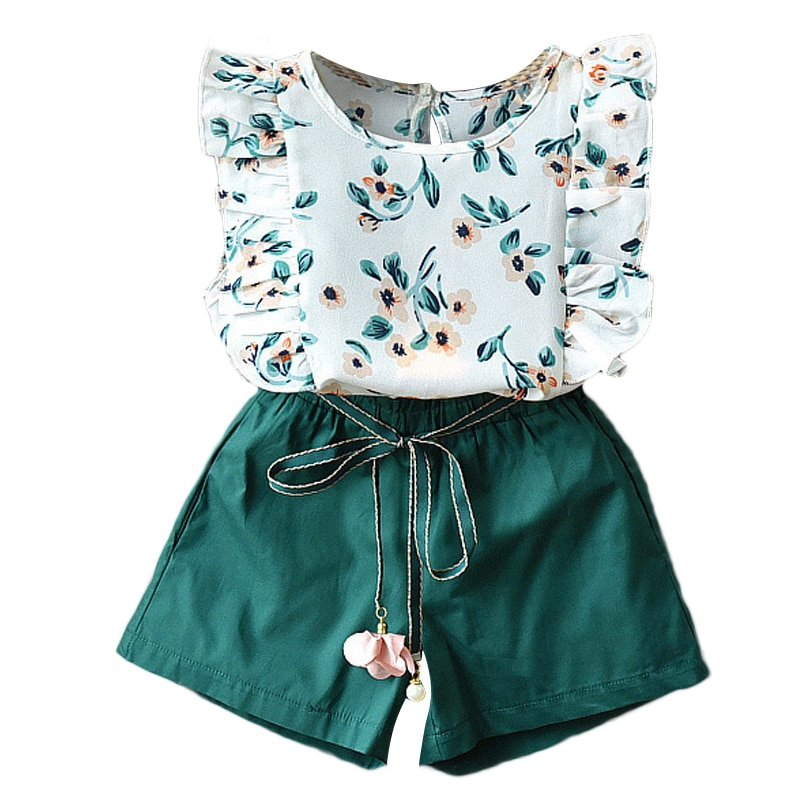 2PCS Cute Girls Sets Clothes Summer Floral Children Clothing Sleeveless T-shirt+Shorts Kids Suit Fashion 3-7T Children Clothes