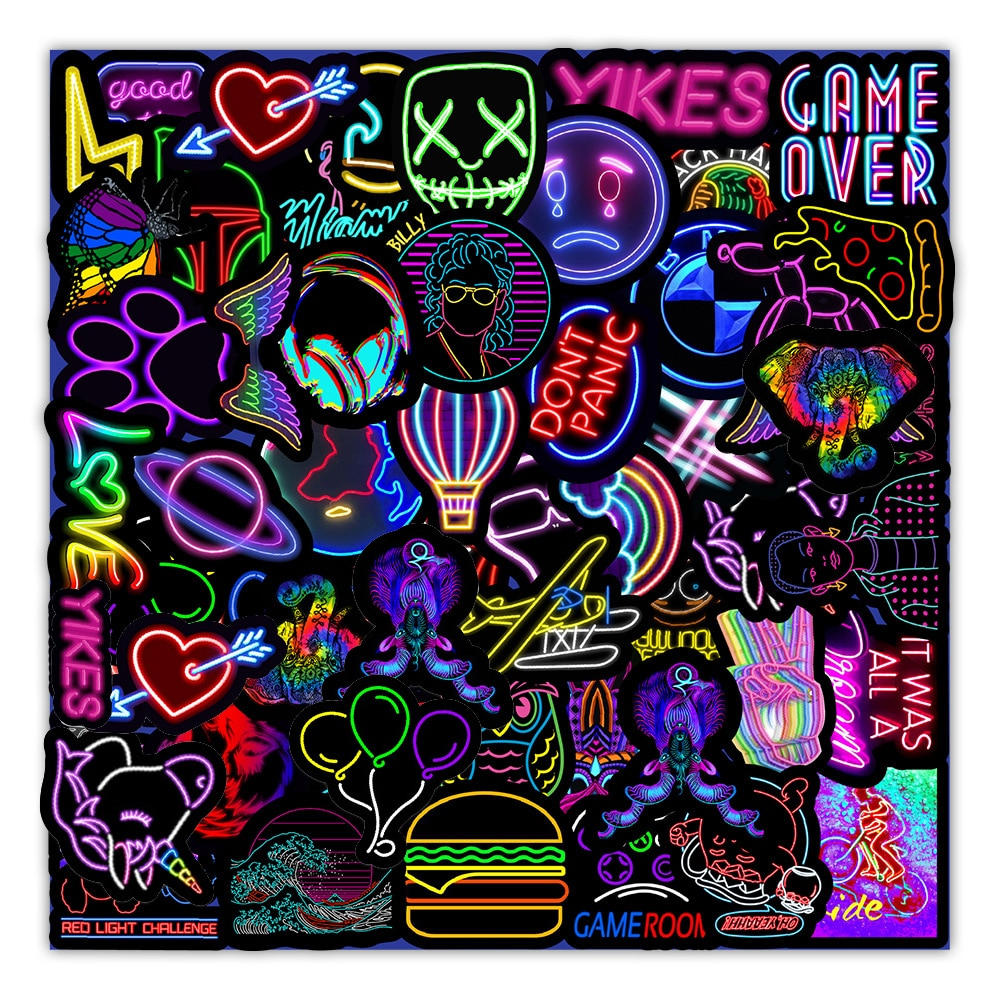 10/30/50PCS Cartoon Neon Light Graffiti Stickers Car Guitar Motorcycle Luggage Suitcase DIY Classic Toy Decal Sticker for Kid