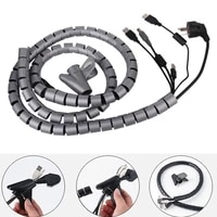 2m soft flexible spiral cable organizer silicone pipe cord protector management cable winder desk tidy cable accessories