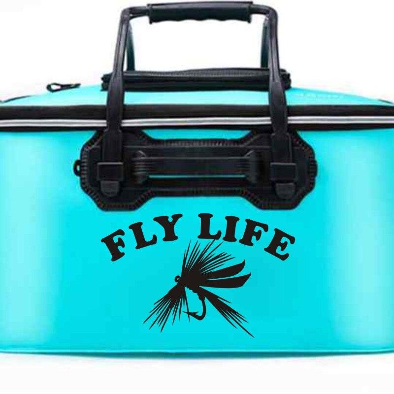 Flyer decalque voar pesca adesivo balde enfrentar loja fishhook adesivo tanque de peixes barco caixa carro vinil