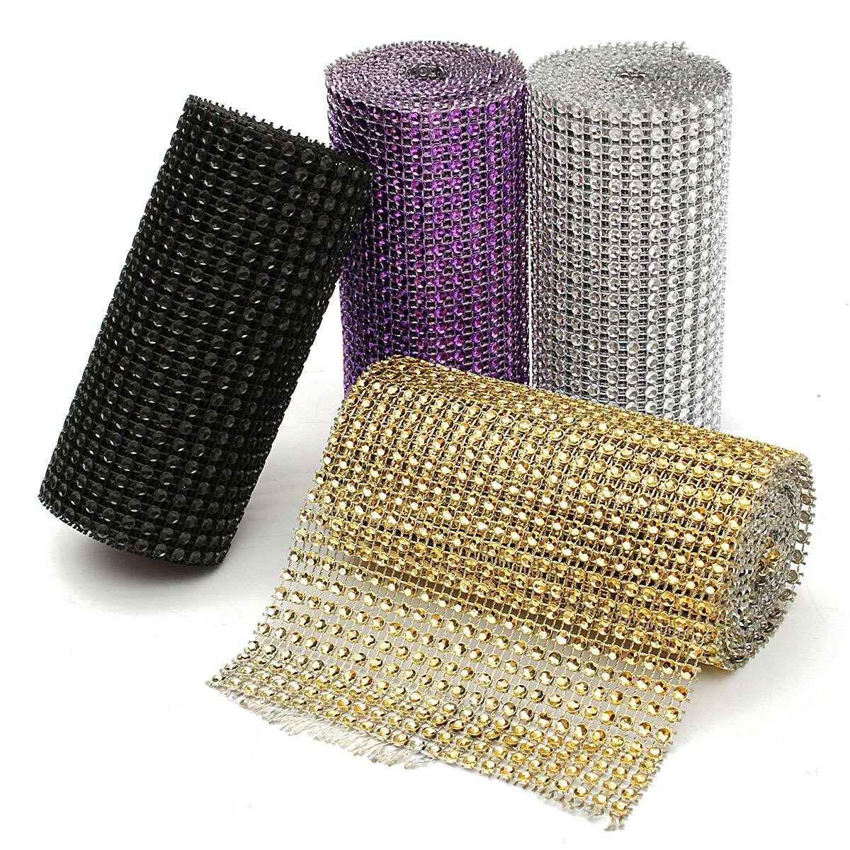 Silver-Diamond-Rhinestone-Ribbon-Wrap-Bulk-DIY-Bling-Birthday-Bridal-Shower-Wedding-Cake-Vase-Decorations-Party-Supplies-2-Yard