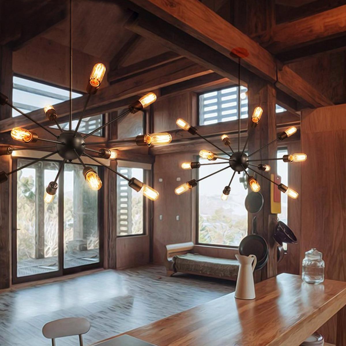 Luz pingente de teto industrial do vintage sputnik e27 12 cabeças edison luz lustre