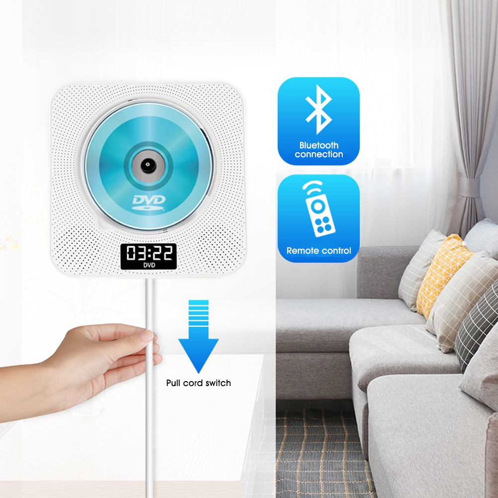 US CD Player Wall Mounted Bluetooth Stereo Audio Early Learning Speaker Wireless Remote Control CD/DVD Mp3 FM Radio HiFi Speaker enlarge