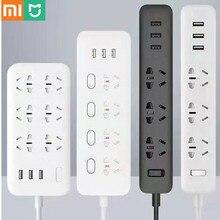 Xiaomi MIJIA WIFI prise de courant intelligente zigbee sans fil câble à distance carte dalimentation 3/4/6 trou USB charge rapide 2500W 10A 250V EU US