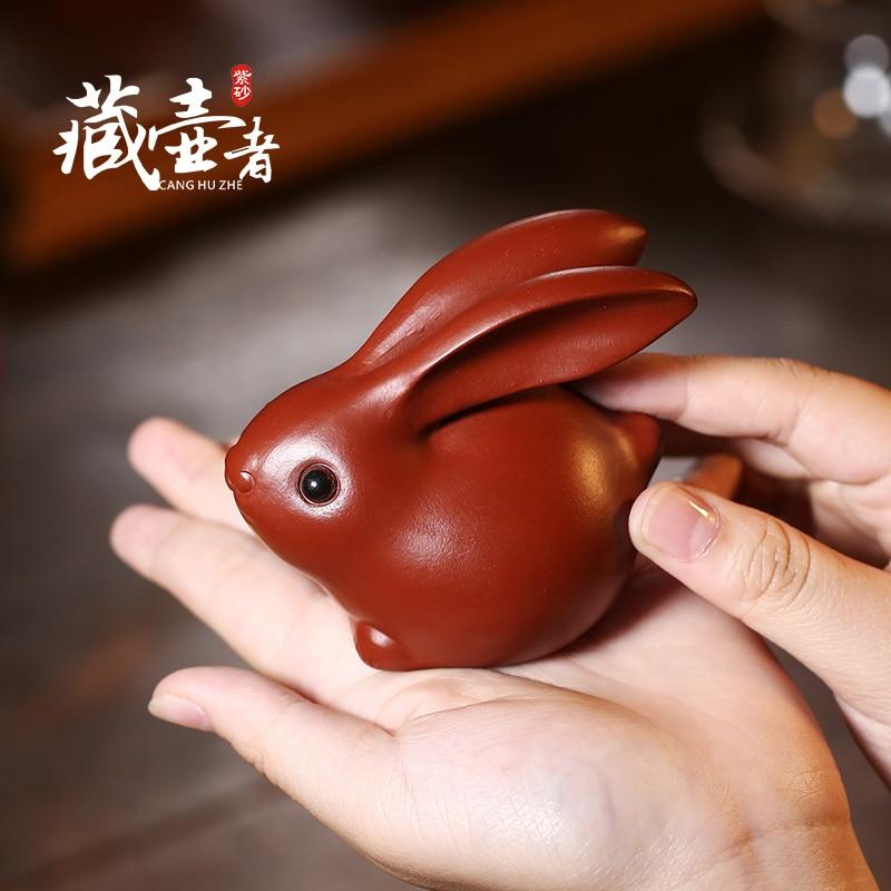 Yixing Zisha الشاي أرنب الحيوانات الأليفة Dahongpao جميل حفل الشاي اليشم أرنب طقم شاي صينية الشاي الديكور يمكن فقاعة أثار
