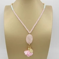 high quality pink natural stone pendant crystal necklace for woman fashion jewelry luxury party necklace clothing accessories