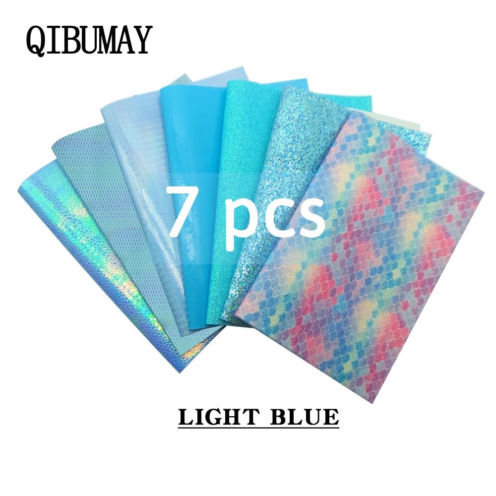 QIBU Großhandel 7 stücke Blau Faux Leder Blätter Chunky Glitter Stoff DIY Haar Bogen Stoff PU Leder Für Schuh Tasche synthetische Leder