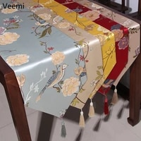 new chinese style magpie and flowers table runner bird treetop embroidery table flag decoration for party wedding with tassels