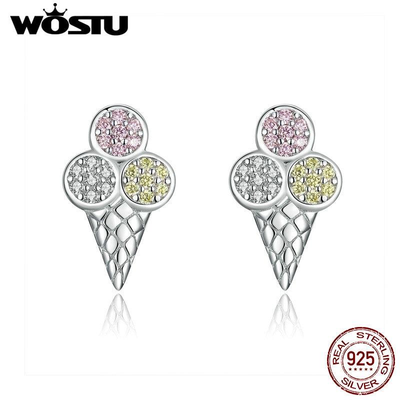 Pendientes de estilo coreano de helado WOSTU 100% Plata de Ley 925, pendientes preciosos para mujer 2019, pendientes pequeños de declaración CQE642
