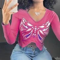 hip hop v neck butterfly print long sleeve cropped tshirt irregular fashion y2k pink tee shirt women autumn streetwear 2021