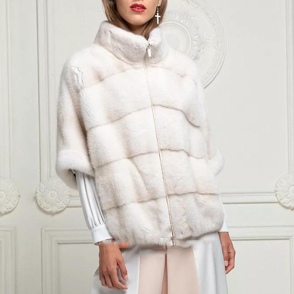 2021 الشتاء فرو منك أنيق معطف الفرو حقيقي أبيض اللون الوقوف طوق امرأة الطبيعية المنك الفراء سترة ضئيلة معطف الفرو الإناث الفاخرة