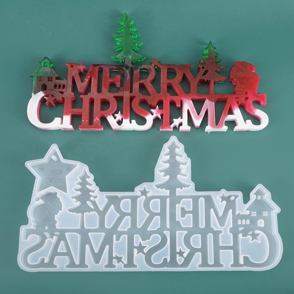 Molde de silicona de carta de Feliz Navidad DIY, molde de epoxi de cristal hecho a mano, decoración de Navidad, decoración de vacaciones