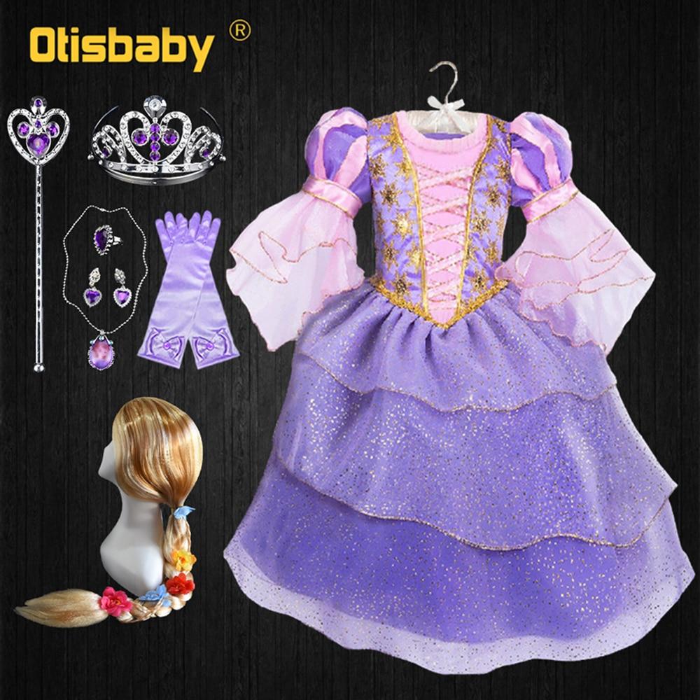 The Tangled Halloween Navidad traje de Año Nuevo chicas Rapunzel vestido Puff...