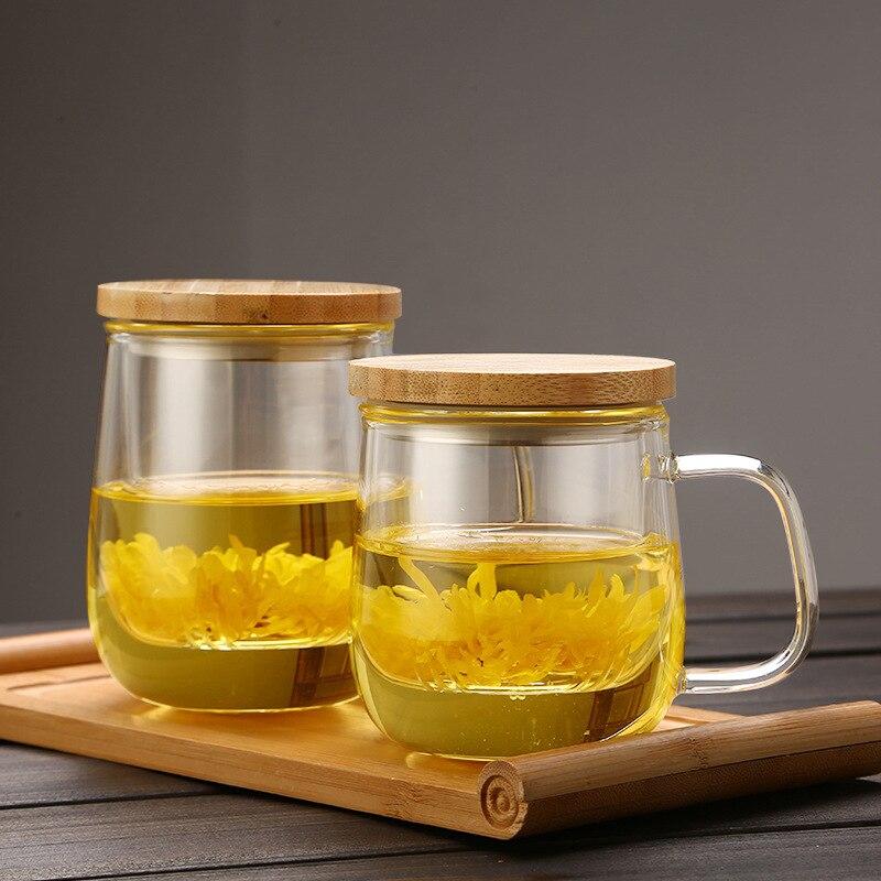 المنزل مكتب مقاومة للحرارة الكلاسيكية سعة كبيرة كوب شاي زجاجي مع غطاء خشبي 210409-10