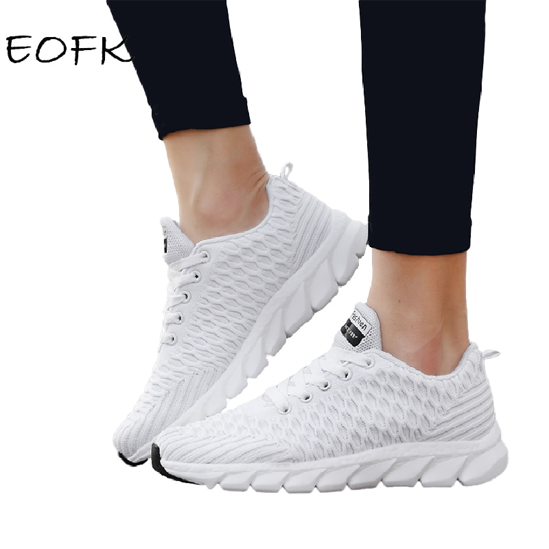 EOFK Women Sneakers Autumn Spring Fashion Casual Shoes Breathable Comfy Lightweight Woman Flat Fabri