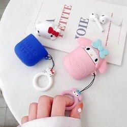 Милая 3D кукла Sanrio kitty cat my Melody зарядная Крышка для Airpods 2 1 мягкая силиконовая bluetooth-гарнитура защитная коробка Coque