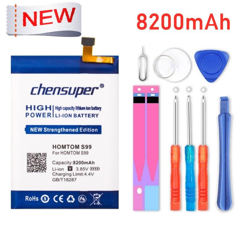 100% nova original chensuper homtom s99 bateria 8200mah para homtom s99 telefone inteligente + ferramentas
