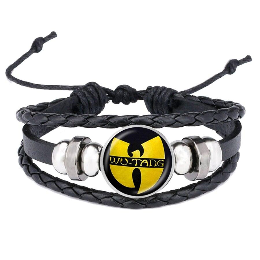 Brazalete con Logo WU TANG CLAN pulseras hip-hop banda de Rap brazaletes de cuero hechos a mano tejidos con cúpula de cristal