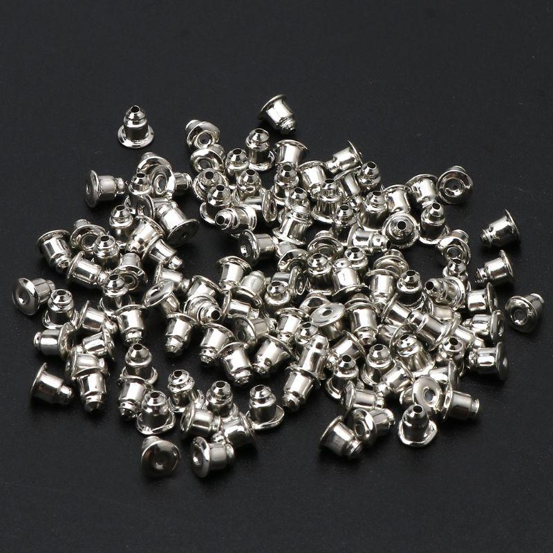 100 Uds. 304 pendientes de tuerca de acero inoxidable pendientes de seguridad espalda de acoplamiento tipo bala pendientes de espalda pendientes de joyería