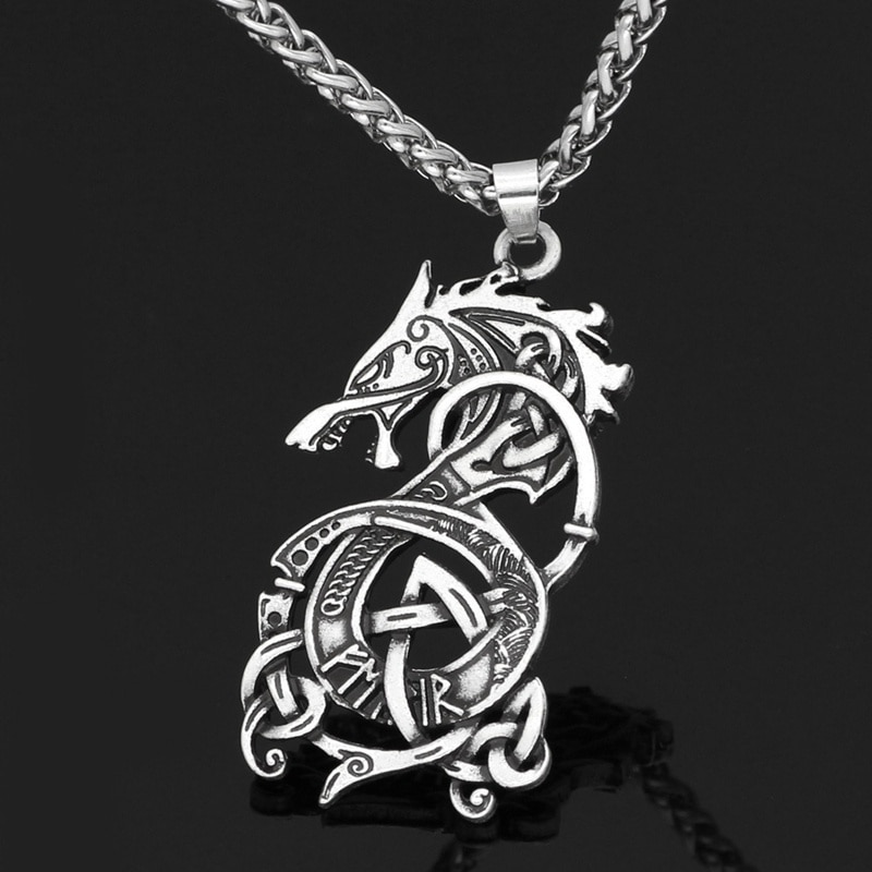 New Personality Retro Viking Dragon Pendant Necklace for Men's Fashion Sliding Animal Hanging Necklace Accessories Party Gift power game necklace ice and fire song necklace personality vintage tangle august dragon pendant