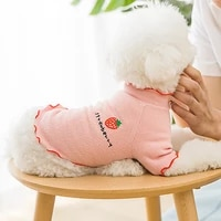 dog ruffle knitted t shirt y2k embroidery vegan strawberry little puppy kitten pet clothes sweet korean summer cat knit tops