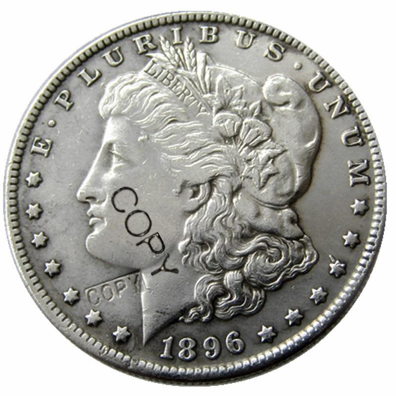 Monedas de EE. UU. 1896 Dólar Morgan copia monedas chapadas en plata