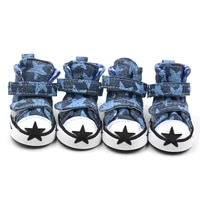 free shipping 4 pcsset five pointed star pattern dog shoes with double magic stick non slip pet puppy dog shoes with 5 size