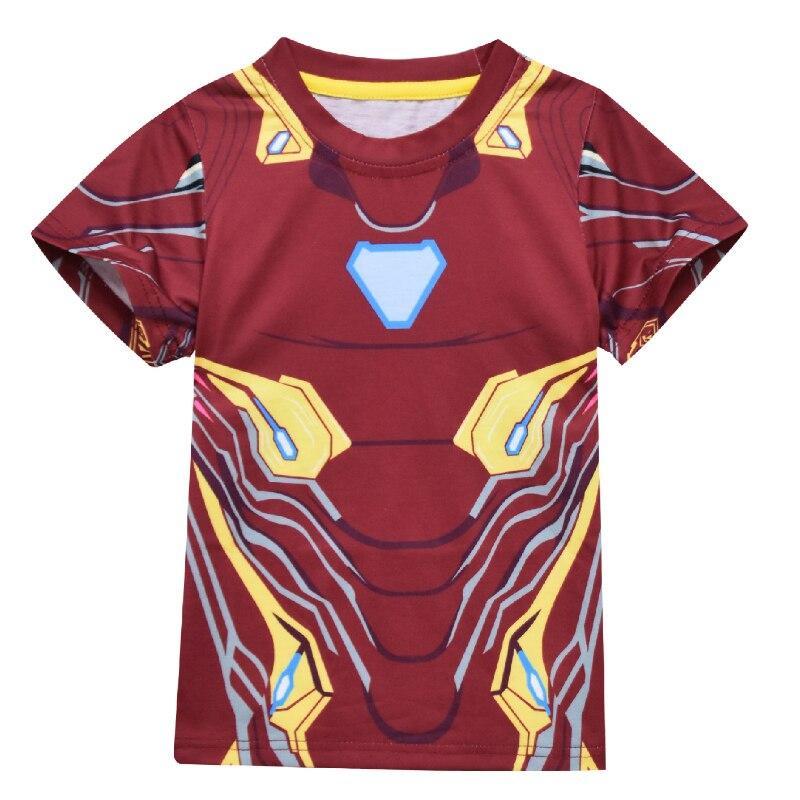 Camiseta de verano para bebé para niños superhéroe Iron Man, vestido con patrón de dibujos animados para niños, camisetas de manga corta, ropa de fiesta de cumpleaños
