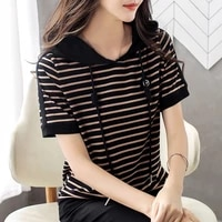2021 new large size loose striped hooded t shirts womens short sleeve summer tshirt tops female fashion clothes for ladies slim