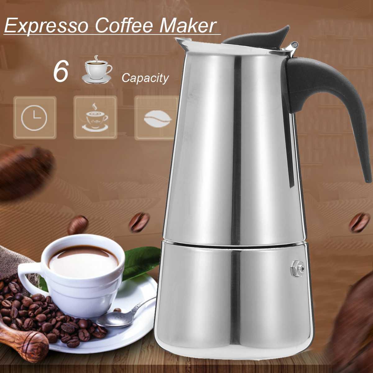 6 أكواب انفصال صانع القهوة وعاء موكا اسبريسو ماكينة القهوة الفولاذ المقاوم للصدأ لاتيه تصفية موكا صانع القهوة وعاء للمطبخ