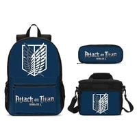 attack on titan printed bag set junior high schoolbag student school bags for girls women travel backpack mochilas mujer 2019