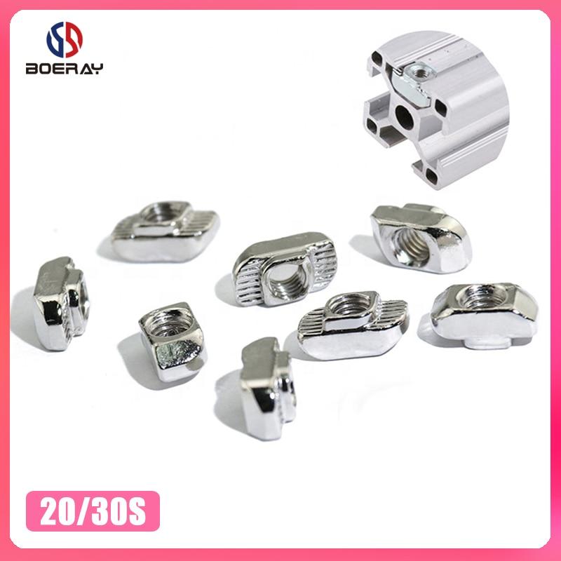 10 pces m3 m4 m5 t slot cabeça martelo porca conector t-nut para 2020 3030 perfil de alumínio acessórios