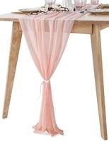 1pcs 70x305cm soft chiffon table runner tablecloth wedding christmas party home decor chair sash party decoration banquet