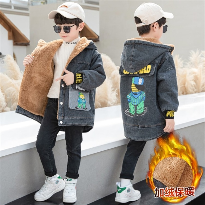 Middle and older children boys' fleece-lined jacket 2020 Winter new boy denim parka autumn thickened children's trench coat enlarge