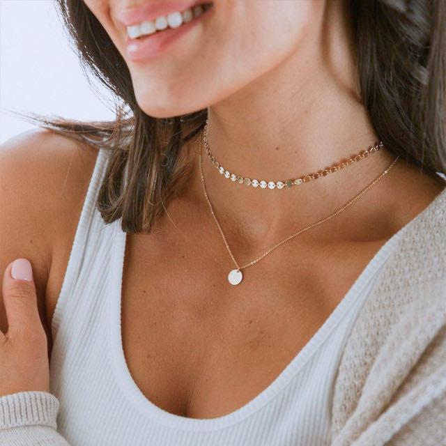 Collar de cadena de clavícula con lentejuelas Simple LODAY, collar de mujer bohemio de múltiples capas, juego de monedas de collar, regalo de joyería de aniversario de cumpleaños