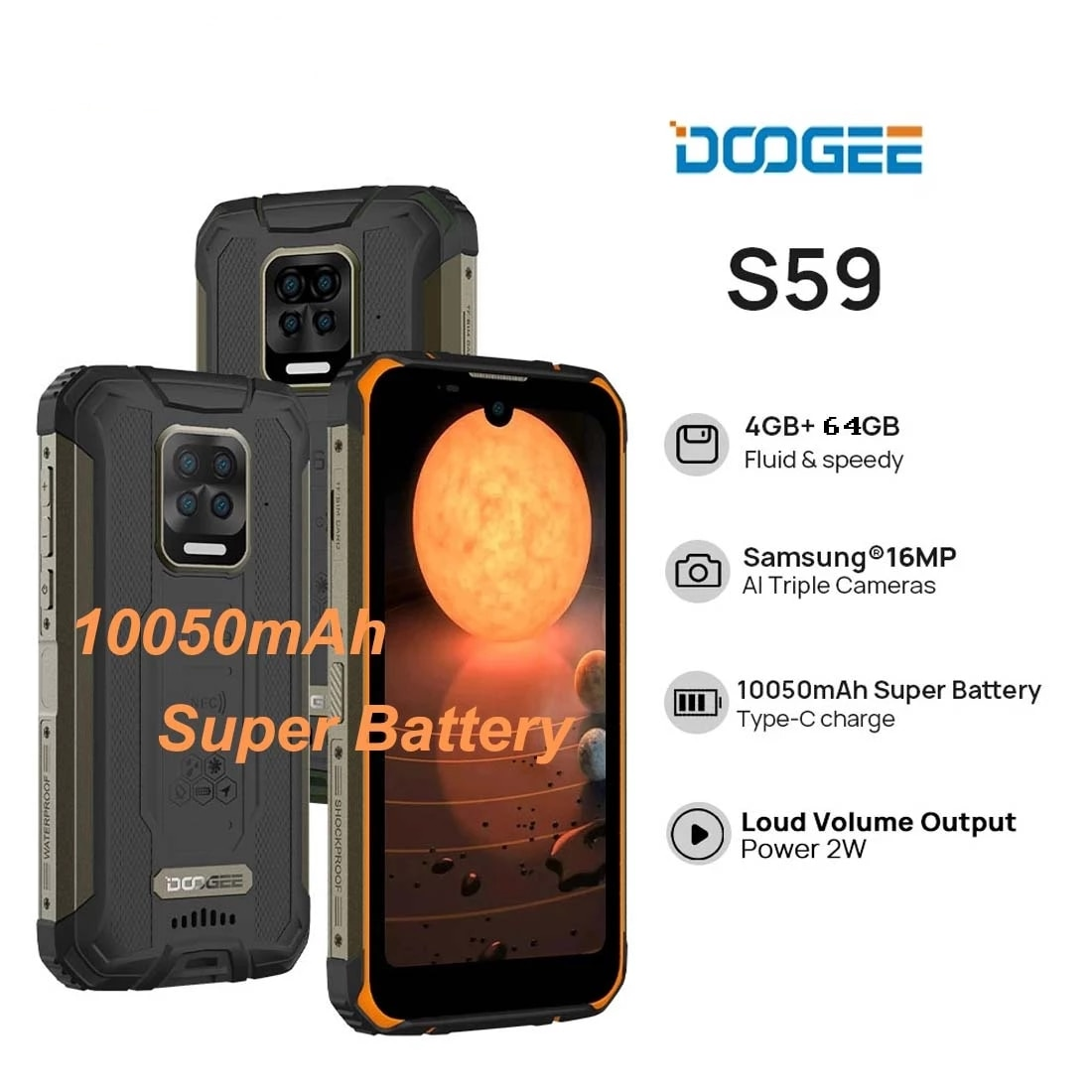 Doogee S59 Rugged Smartphone 10050mAh Super Battery 4GB+64GB NFC Face Unlock Mobile Phone 5.71'' Android10 2W Powerful Speaker