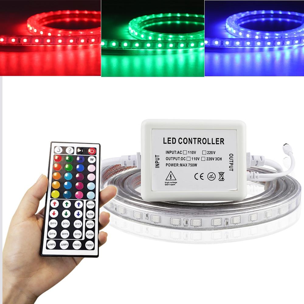 220V Flexible 5050 SMD RGB Light Strip with 44 Key Remote Control 220V LED Waterproof  Tape Ribbon Light Ledlight Stripe JH