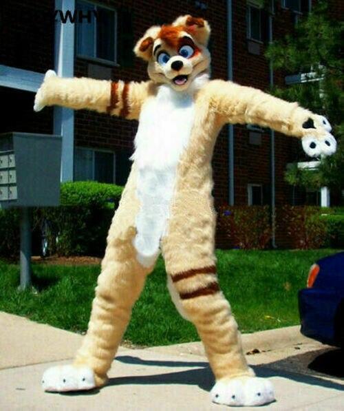 البيج طويل الفراء Fursuit الكلب زي التميمة الثعلب تأثيري الزي الكبار مرحلة الأداء يتوهم زي حفلة تنكرية للحزب لجميع القديسين