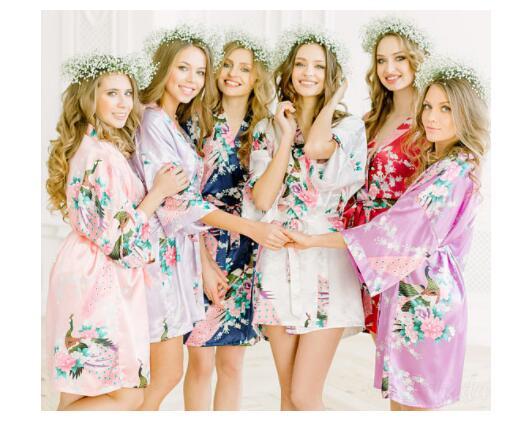 Sexy Dama de Honra Do Casamento Da Noiva Vestir Túnica Cinza Senhora Kimono Bath Vestido Tamanho Grande XXXL Sleepwear Camisola Floral Presente Do Partido