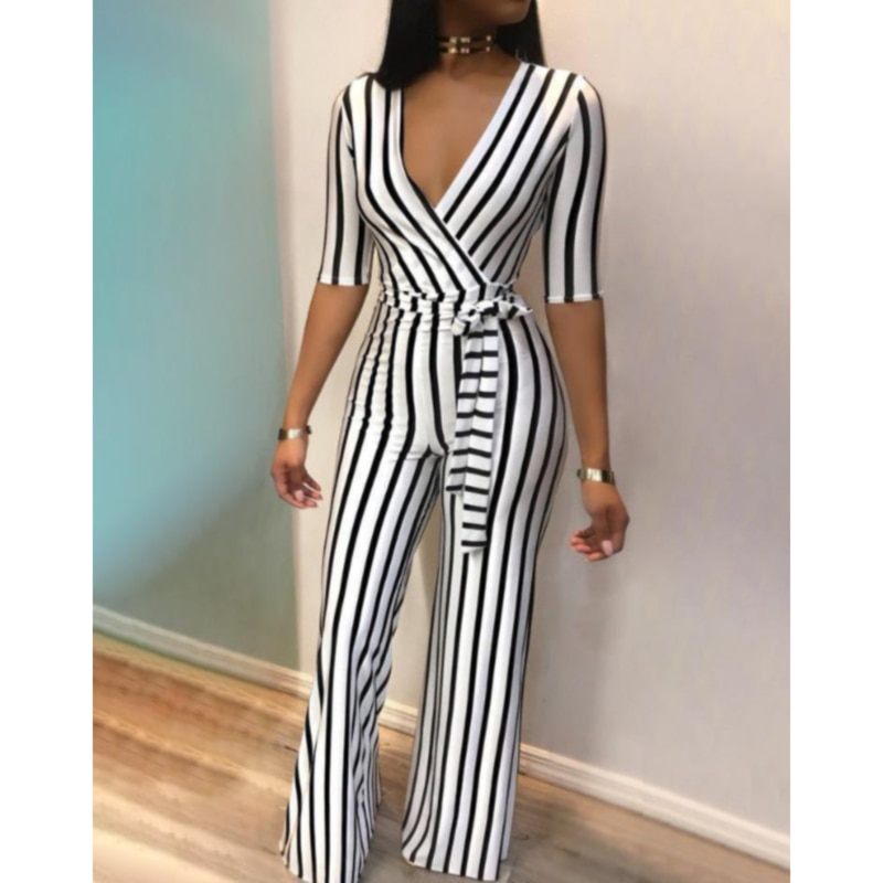 Jumpsuit women's summer 2021 new summer women's deep V slim body slimming contrast color black and white striped jumpsuit women